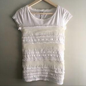 LC Lauren Conrad Ivory Tiered T-Shirt